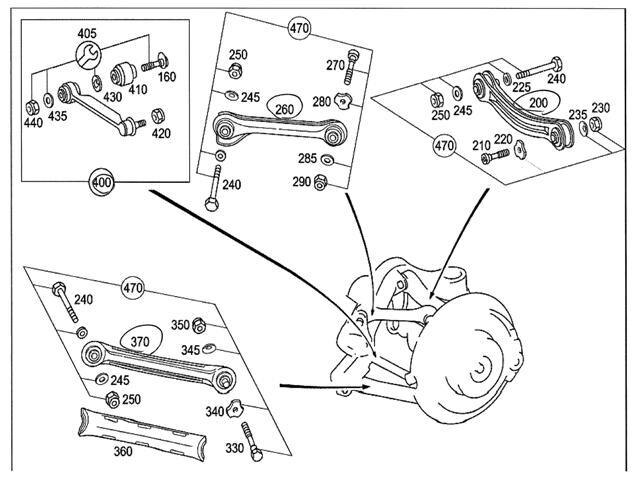Usedrear Right Lower Control Arm Mercedes Benz Benz C Class 2001 Gf