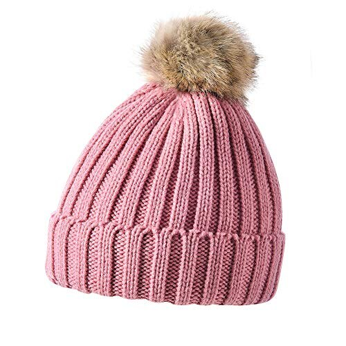 ab0bfb36afc Imenseas Knit hat men s warm unisex cap set outdoor hat ski sports soft  fleece lining knit set with scarf school cold winter Pink