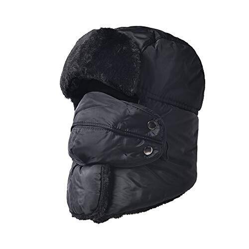 5a387bccd83 Imenseas Knit hat men s warm unisex cap set outdoor hat ski sports soft  fleece lining knit set with scarf school cold winter Black