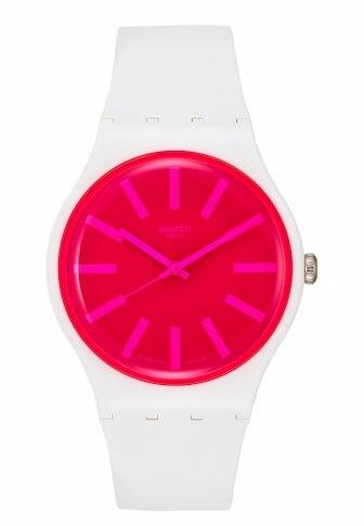 New Swatch Watch Watch Lady S Swatch Strawbeon Watch White
