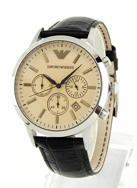buying new exquisite style official photos [New]EMPORIO ARMANI Emporio Armani chronograph leather belt leather men  watch clock watch   brown AR2433