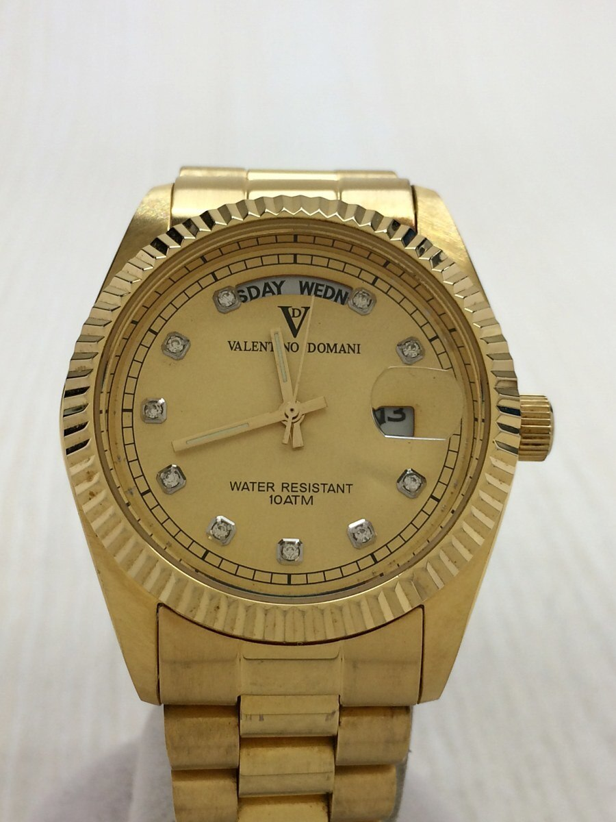 Used Valentino Domani Quartz Analog Watch Stainless Steel Gold Vd002 Be Forward Store